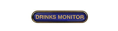Drinks Monitor School Badge (Bar) Resin Domed Choice of Colour (Gel Domed)