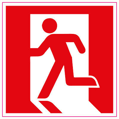 Fire Exit Running Man LEFT RED Sign/Stickers Health and safety warning first aid