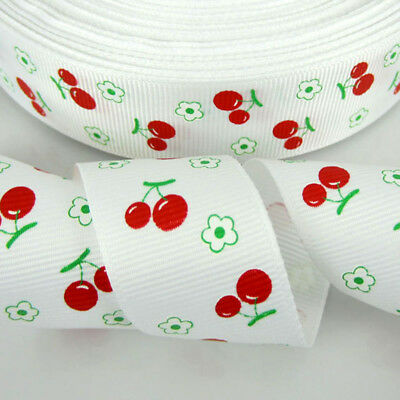 """10yards 1"""" Printed Cherry Grosgrain Ribbon For Packing Scrapbook 25mm ribbon bow"""