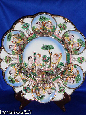 Capodimonte  Platter or Wall Plate Cherub Designs Excellent  Collectible!
