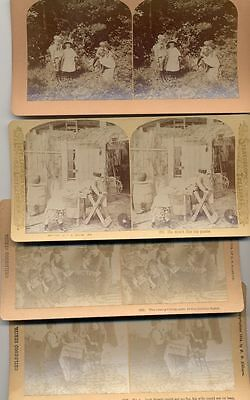 Stereo View Photographs Of Children Set Of 4