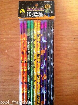 10 Halloween HB Wood Pencil Pack Set Ghost Pumpkin Witch Party Favor Loot Bag