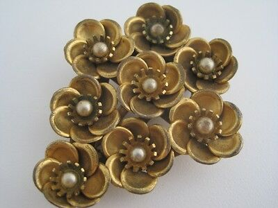 "Antique Art Deco Gold Filled Flower Faux Pearl Center Fur Dress Clip 2 1/8"" Tall"
