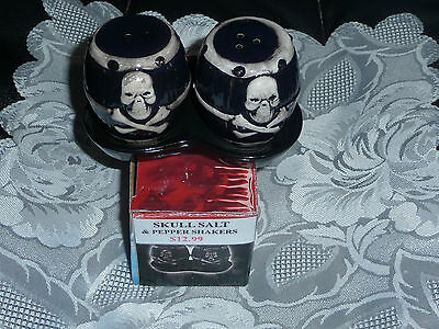 Skull Salt &  Pepper Set On A Tray ** In Australia**  Cross Bones