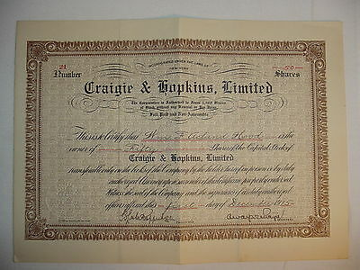 1915 Craigie & Hopkins Limited Stock Certificate New York
