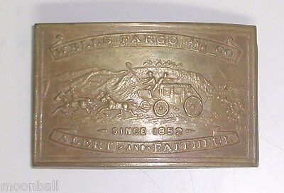 VINTAGE! GOLDEN GATE Wells Fargo & Co. BRASS BELT BUCKLE from E. GAYLORD & Co.