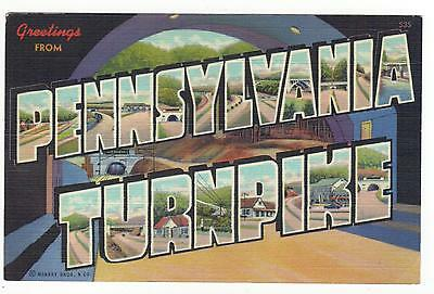Large Letter Linen-Pa,greetings From Pennsylvania Turnpike 1941