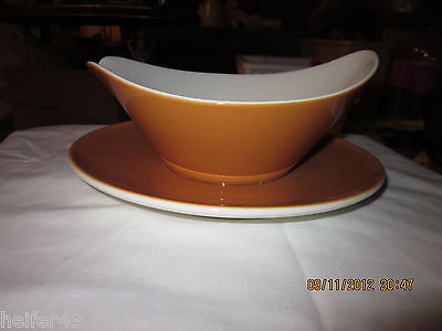 """Vintage Iroquois """"Old Orchard"""" Gravy Boat w/Attached Underplate !!!"""