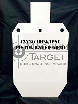 "12in.x20in. 2/3 scale IDPA Gong - 3/8"" Thk. Steel Action Pistol Shooting Targets"