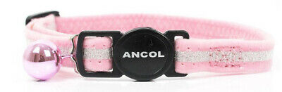 NEW Ancol Dotty Cat Collar With Bell Blue Pink + Safety Buckle JTB