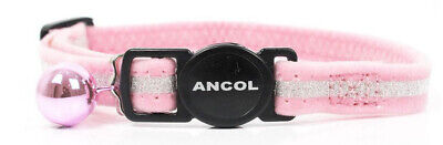 NEW Ancol Velvet Glitter Cat Collar Safety Buckle Pink Purple Black
