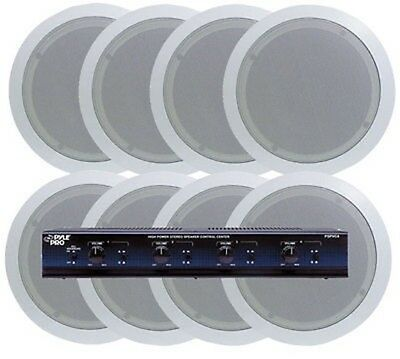 NEW Pyle 4 Room In-Ceiling Speaker System 8 x 5.25 Speakers & 4 Channel Selector