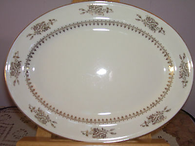 Vintage 1939 Semi Vitreous Edwin M. Knowles China Co. Oval Platter Made in USA