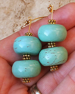 Turquoise Gemstone Long Double Earrings Big Jewelry Earth Gem Gold Or Silver