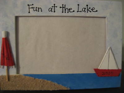 FUN AT THE LAKE - family vacation photo picture frame