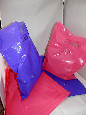 50 Hot Pink and Purple 9x12 Retail Merchandise Gift Bags W Handles, Low density