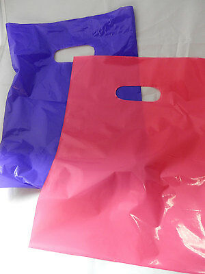 100 12x15 Purple and Hot Pink Low-Density Plastic Merchandise Bags WHandles