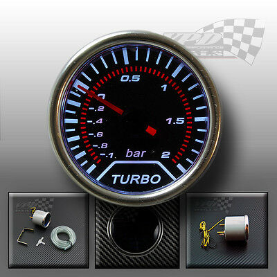 WHITE LED BOOST TURBO GAUGE SMOKED DIALS FACE 52mm (BAR)