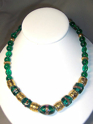 Vintage Green Venetian Glass Square & Oval & Carved Gold Bead 18.5 Inch Necklace