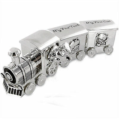 Personalised Train and Carriages Tooth and Curl Set Engraved Gift