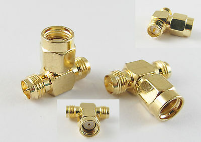 RP SMA Male to Dual 2 RP SMA Female Triple T Wifi Antennas Adapter Connector