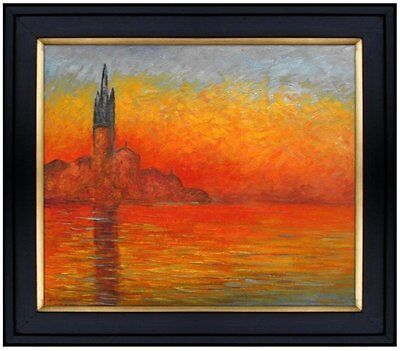 Framed, Claude Monet Venice at Dusk Repro. Hand Painted Oil Painting 20x24in