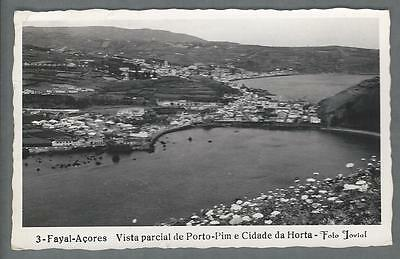 HORTA, FAIAL, AZORES ~ TOWN & PORTO PIM OVERVIEW ~ REAL PHOTO RPPC ~ used 1957