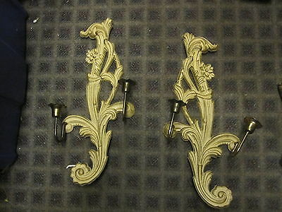Vintage French Provincial pair curly wall candle sconce Hollywood Regency
