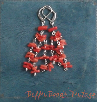 Antique CORAL TASSEL EARRINGS to match vintage twig salmon coral necklaces .925