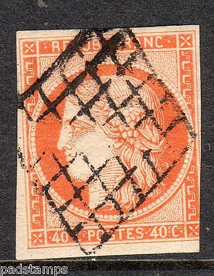 FRANCE 1851 40c red orange imperf Ceres head used diamond grille cancel SG 15