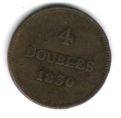 Uk Coins ,guernesey- 4 Dubles 1830 Year, Xf #30.