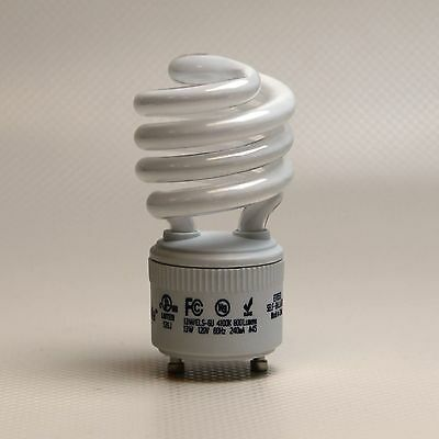 60 Watt Compact Fluorescent CFL Light Bulbs GU24 Lamps 13W/27K Spiral Twist