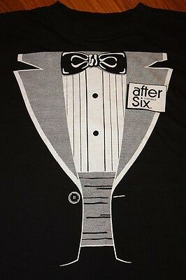 L * NOS vtg 80s TUXEDO after six POLY TEES t shirt * large funny novelty costume