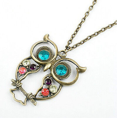 Vintage Fashion Colorful Cute Owl Carved Hollow Chain Necklace Retro Earrings