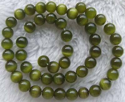 14.5inch 8mm Green Cat's Eye Glass Round Beads