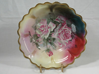 Stunning VTG Limoges Bavaria La France Pink Cabbage Rose Gold Scalloped Bowl