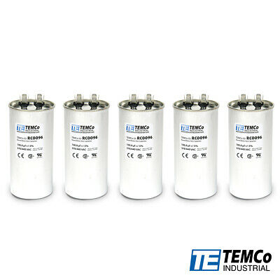 TEMCo 100 MFD uF Run Capacitor 440 vac Volts 5 LOT AC Motor HVAC 100 uf