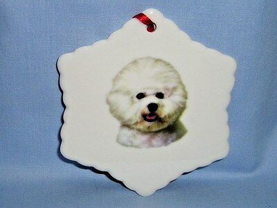 Bichon Frise Dog Porcelain Snowflake Christmas Tree Ornament Fired Head Decal-H