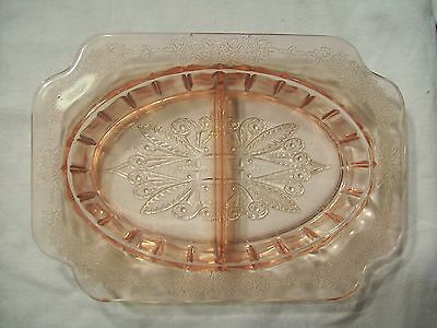 Vintage Pink Rose Glass Dish Floral Decorations Nice Condition Depression Glass