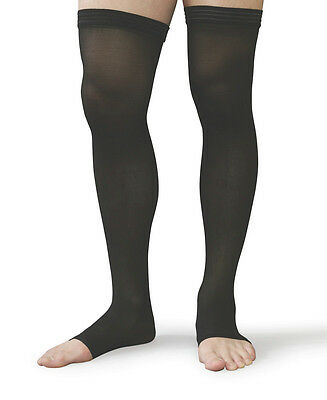 Thigh High Compression Stockings 30-40 Beige/Black ALL SIZES Open or Closed Toe