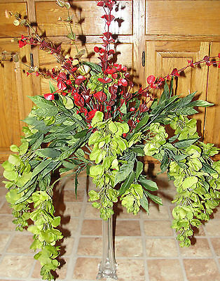 Tall Vase Fall Silk Flowers Olive Green Wisteria Office Den Desk Decoration