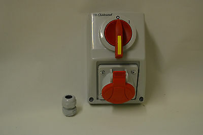 IP54 3 phase rotary isolator switch socket  CEE 3 phase 400V 16A, 32A. 4 & 5 pin