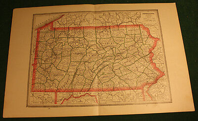 Antique Pennsylvania or New Jersey Map Color 1883
