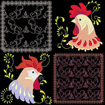 Rooster Quilting & Rooster Portraits - 50 Machine Embroidery Designs (Azeb)