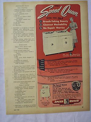 1954 Magazine Advertisement Page For Speed Queen Washer & Dryer Vintage Ad