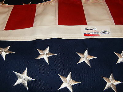 Valley Forge American Flag 4'x6' sewn/embroidered Stars Koralex II 100% USA Made