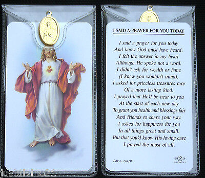 Prayer Verse Card Various Saints Icons With Medal In Plastic Wallet Religious