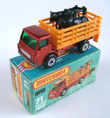 Matchbox Superfast 71 Cattle Truck, 1976, Mib With Black Cattle!