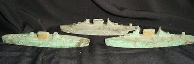 3 Old Vintage Metal War Ships from England 1930 Very Rare