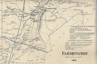 Farmington Unionville CT 1869 Maps with Homeowners Names Shown